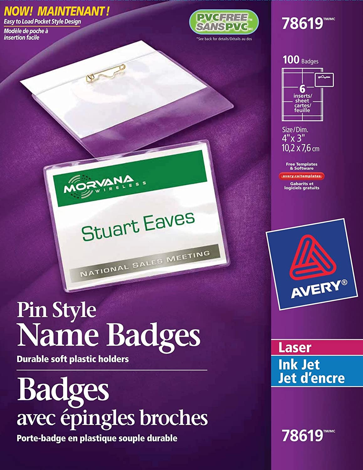 avery pin style name badge kit for laser and inkjet printers 4 x 3