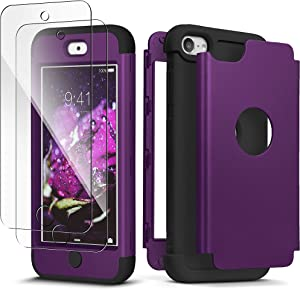 iPod Touch 7th Generation Case with 2 Screen Protector, IDweel Heavy Duty High Impact Armor Shockproof Case Cover Protective Case for Apple iPod Touch 5/6/7th Generation, Deep Purple+Black
