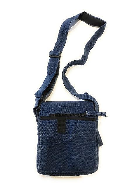 4f9b39db0a La Conchiglia - Borsa Tracolla Uomo Donna - Piccolo Borsello Cotone - Borsetta  Portadocumenti (Blu): Amazon.it: Scarpe e borse