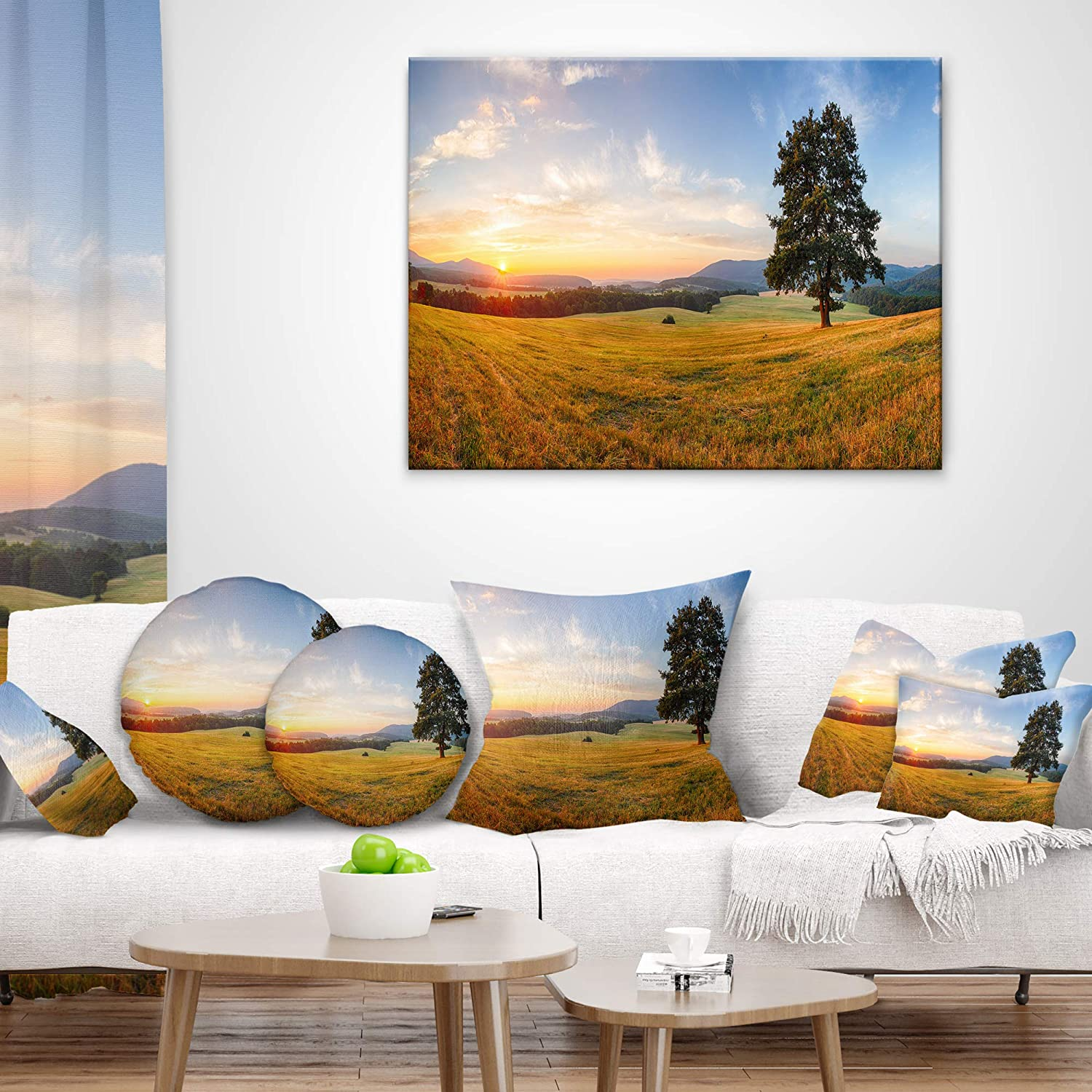 Insert Printed On Both Side Sofa Throw Pillow 16 Designart CU9656-16-16-C Lonely Tree on Meadow at Sunset Landscape Photography Round Cushion Cover for Living Room