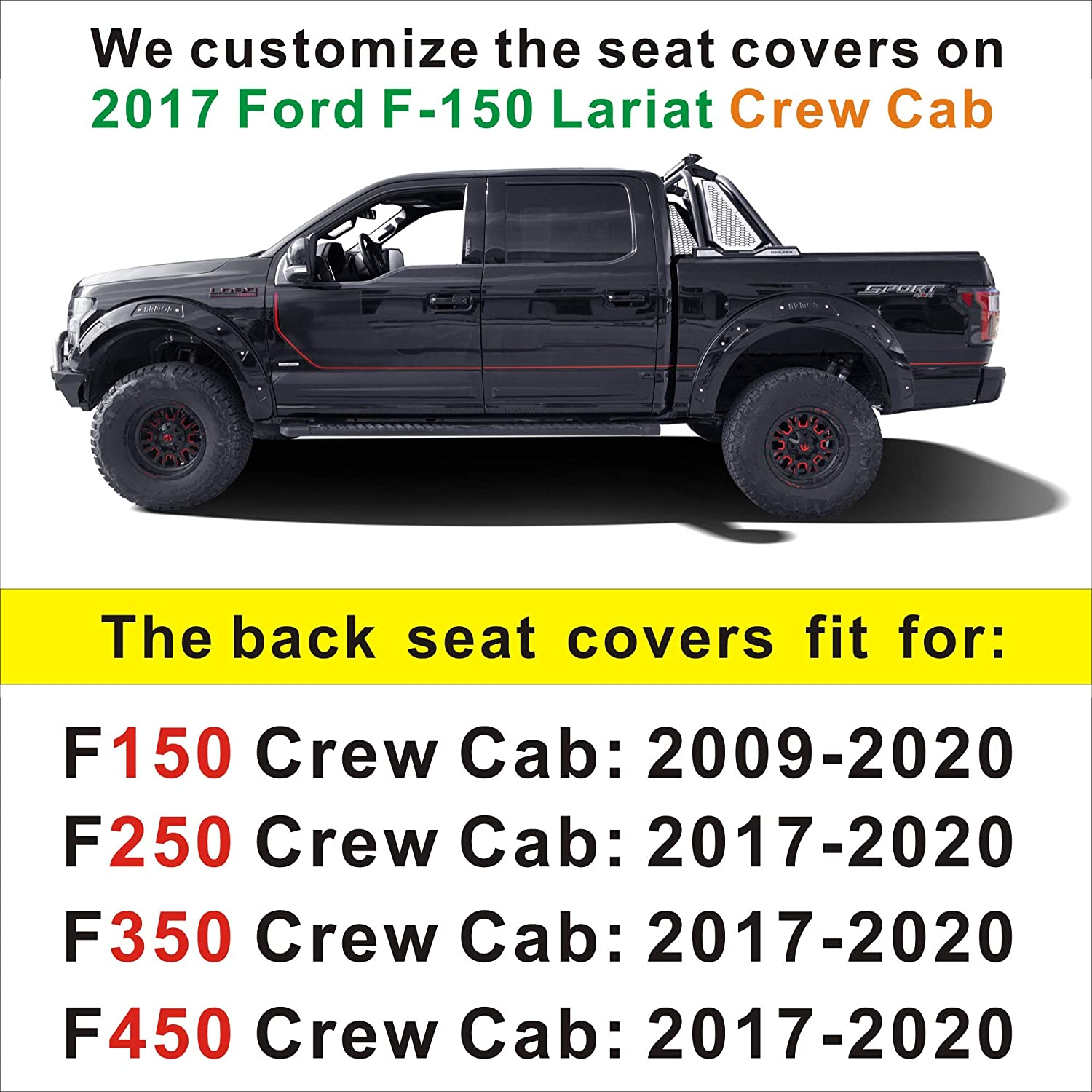 Black 2 PCS LUCKYMAN CLUB 2 Front Seat Covers fit for Ford F150 from 2015 to 2020 and fit for F250 F350 F450 from 2017 to 2020 with Faux Leather