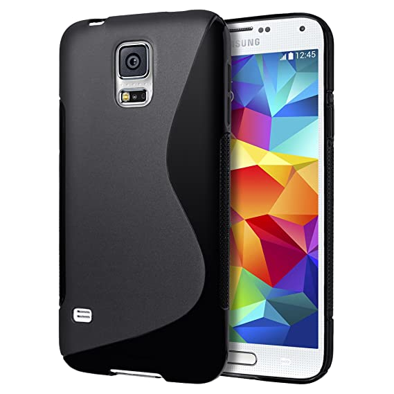 new product 4fb4f b901b Samsung Galaxy S5 mini Case, Cimo [Wave] Premium Slim TPU Flexible Soft  Case for Samsung Galaxy S 5 V mini (2014) - Black