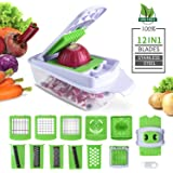 Cool-Shop Vegetable Cutter, Chopper,Grater & Julienne Slicer - 12 in 1 Heavier Duty Multi Vegetable-Fruit-Cheese-Onion Chopper-Dicer-Kitchen Cutter