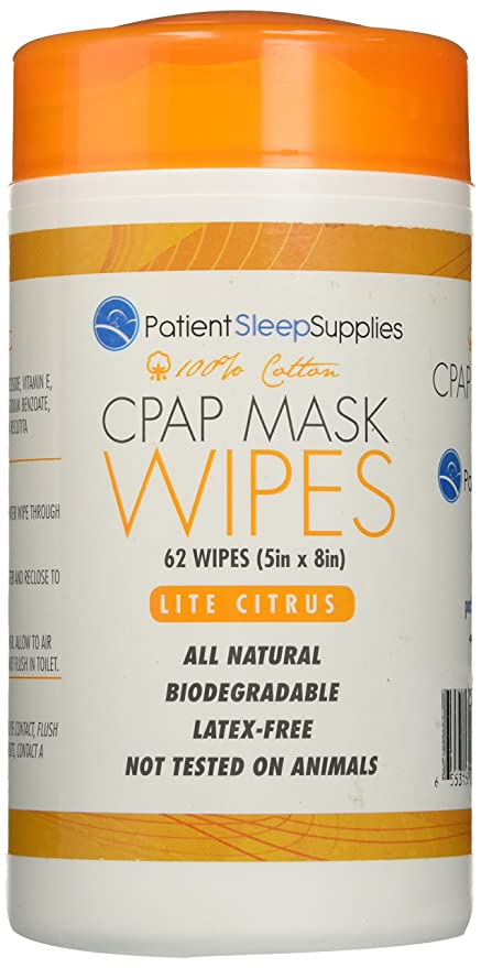 Paciente Sleep Suministros CPAP Máscara Toallitas de limpieza (Lite Citrus)