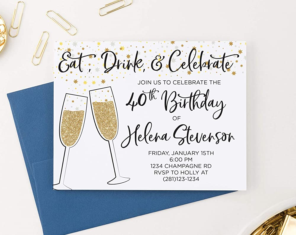 50th Birthday Invites for Women Your choice of Age Quantity and Envelope Color 40th Birthday Invitations for Women Gold Chevron 90th Birthday Party Invitations with Envelopes