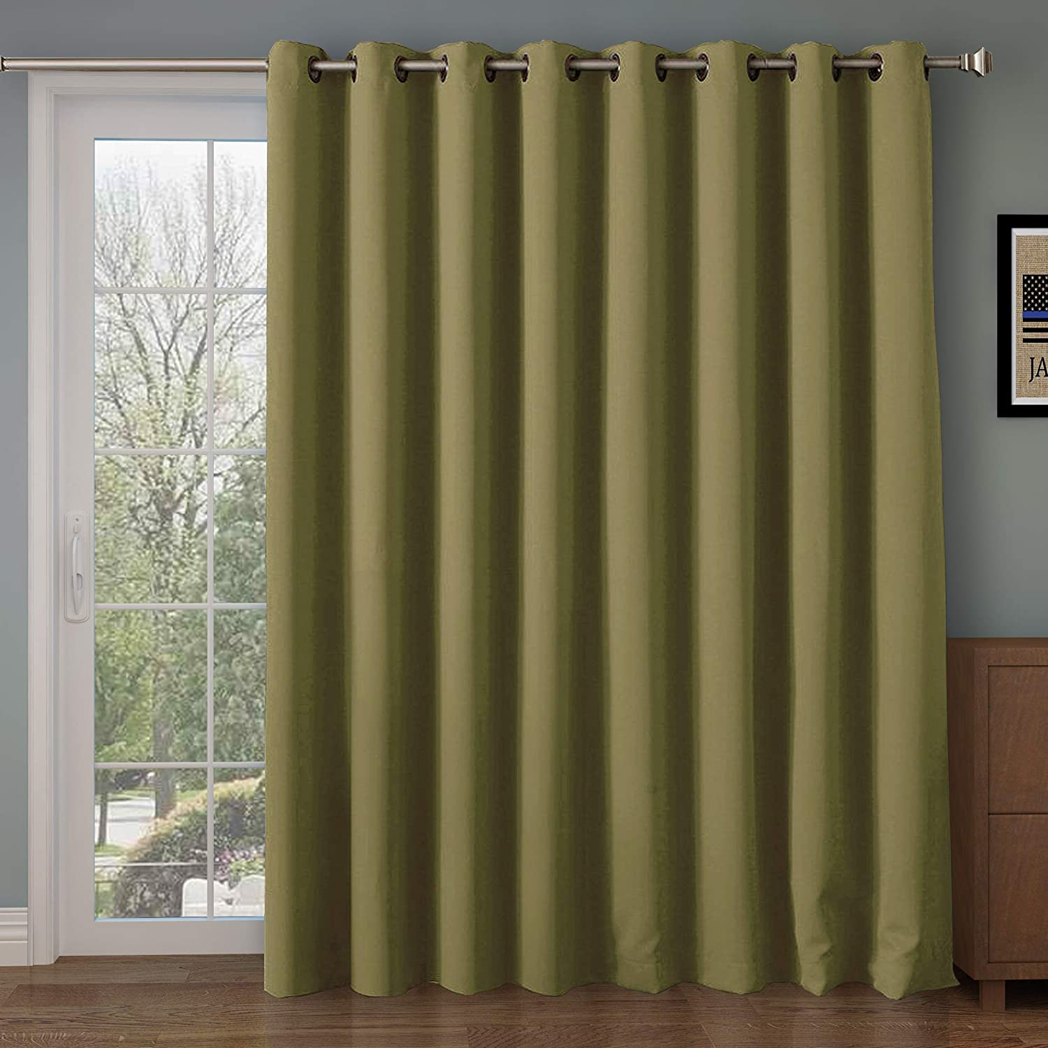 Rose Home Fashion RHF Wide Thermal Blackout Patio Door Curtain Panel, Sliding Door Curtains Antique Bronze Grommet Top 100W by 84L Inches-Olive