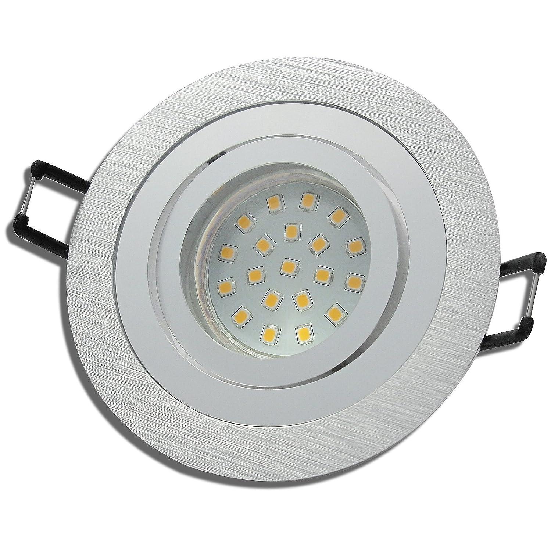 6 Stück SMD LED Einbaustrahler Nele 12 Volt 3 Watt Schwenkbar Silber Neutralweiß