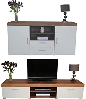White U0026 Walnut Sydney 2 Metre TV Cabinet U0026 Large Sideboard Unit Living Room  Furniture Set Part 68