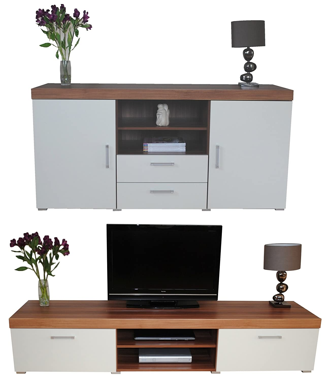 White & Walnut Sydney 2 Metre TV Cabinet & Large Sideboard Unit ...