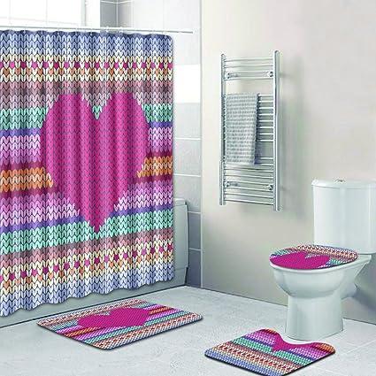 Amazon R Ansxyx 4 Piece Bathroom Set Love Heart Knitting
