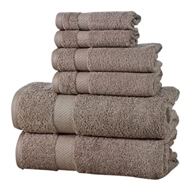 Affinity Home Collection ESP6PCTWL-TPE 6 Piece 600 GSM Elegance Spa Luxurious Cotton Towel Set, Taupe