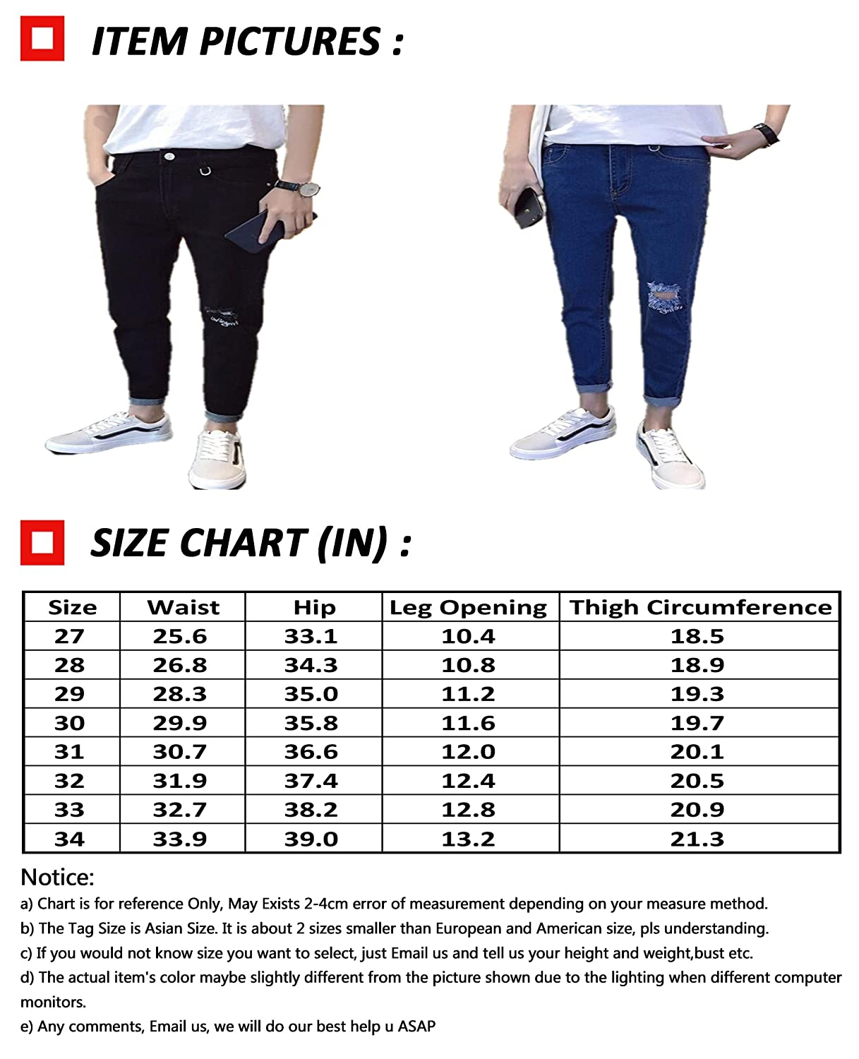 Bstge Mens Spring Slim Fit Hole Jeans