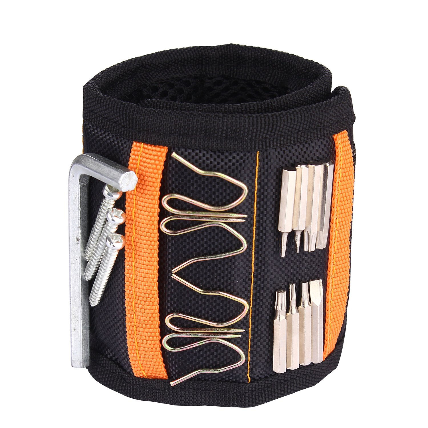 Magnetic Tool Wristband with 15 Super Strong Magnets DIY Handyman Wrist Band Adjustbable Strap Tools Belt for Holding Screws Nails, Drill, Bits, Black