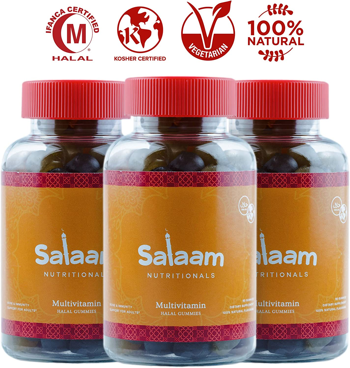 Salaam Nutritionals Halal Adult Gummy Multivitamins 11 Essential Vitamins and Minerals with Antioxidants Kosher, Vegetarian, Non-GMO, Gluten, Dairy, Nut Free 3 Pack, 270 Total Count