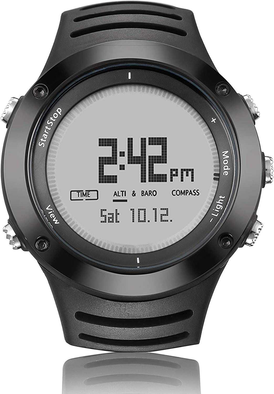 SWEET Inteligente Relojes para Los Hombres 360 De Visualización De Grado Deportivo Multifuncional Resistente Al Agua Reloj De Escalada Al Aire Libre De La Brújula