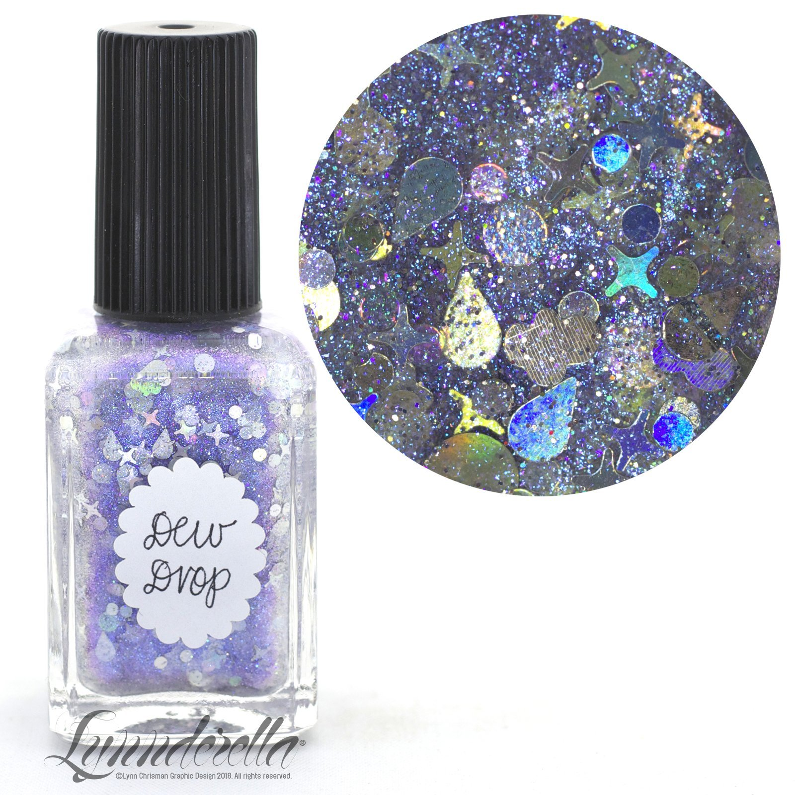 Lynnderella Limited Edition—Holographic Silver Multi Glitter Topper Nail Polish—Dew Drop