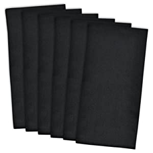 """DII Cotton Solid Flat Weave Dish Towels, 18 x 28"""" Set of 6, Absorbent Monogrammable Kitchen Towels for Cooking and Baking-Black"""