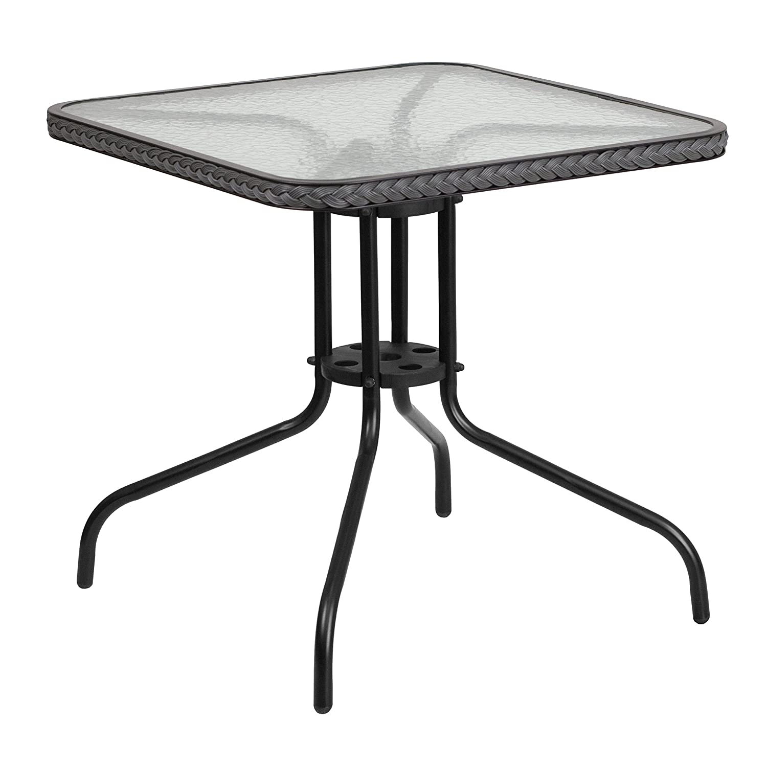 Amazon.com: Flash Furniture 28u0027u0027 Square Tempered Glass Metal Table With  Dark Brown Rattan Edging: Kitchen U0026 Dining