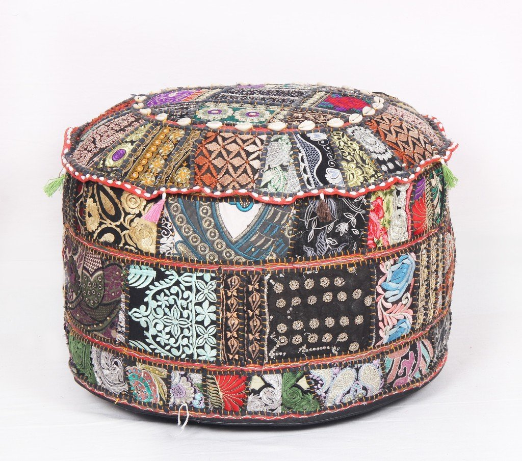 Ethnic Decor Pouf Antique Saree Pouffe Foot stool Round Poof Floor Pillow Ottoman Jaipur Textile Hub JTH-PUF-9