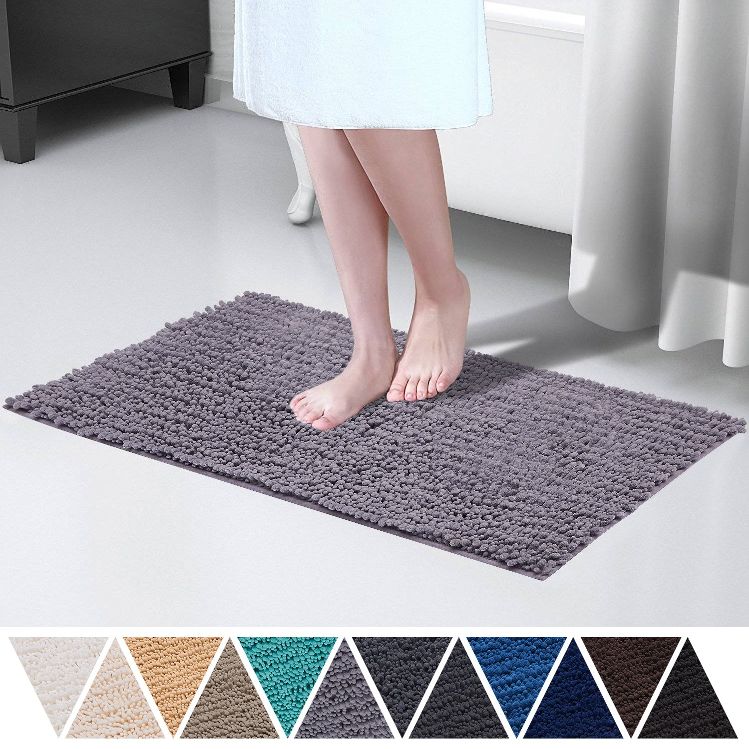 "Plush Rug for Indoor, Microfiber Anti Slip Mat|Great for Bathroom, Kitchen, Living Room|Modern Design, Tricolor, Super Soft, Absorbent, Quick Dry, Mildew Resistant, Machine Washable|18"" x 27"", Black+Gray+White DEARTOWN"