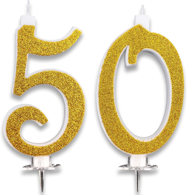 Velas Maxi de 50 años para Tarta, Fiesta, cumpleaños, Boda, 50 años, decoración, Velas de cumpleaños, Tarta 50, Fiesta temática, Altura 13 cm, Oro Brillante