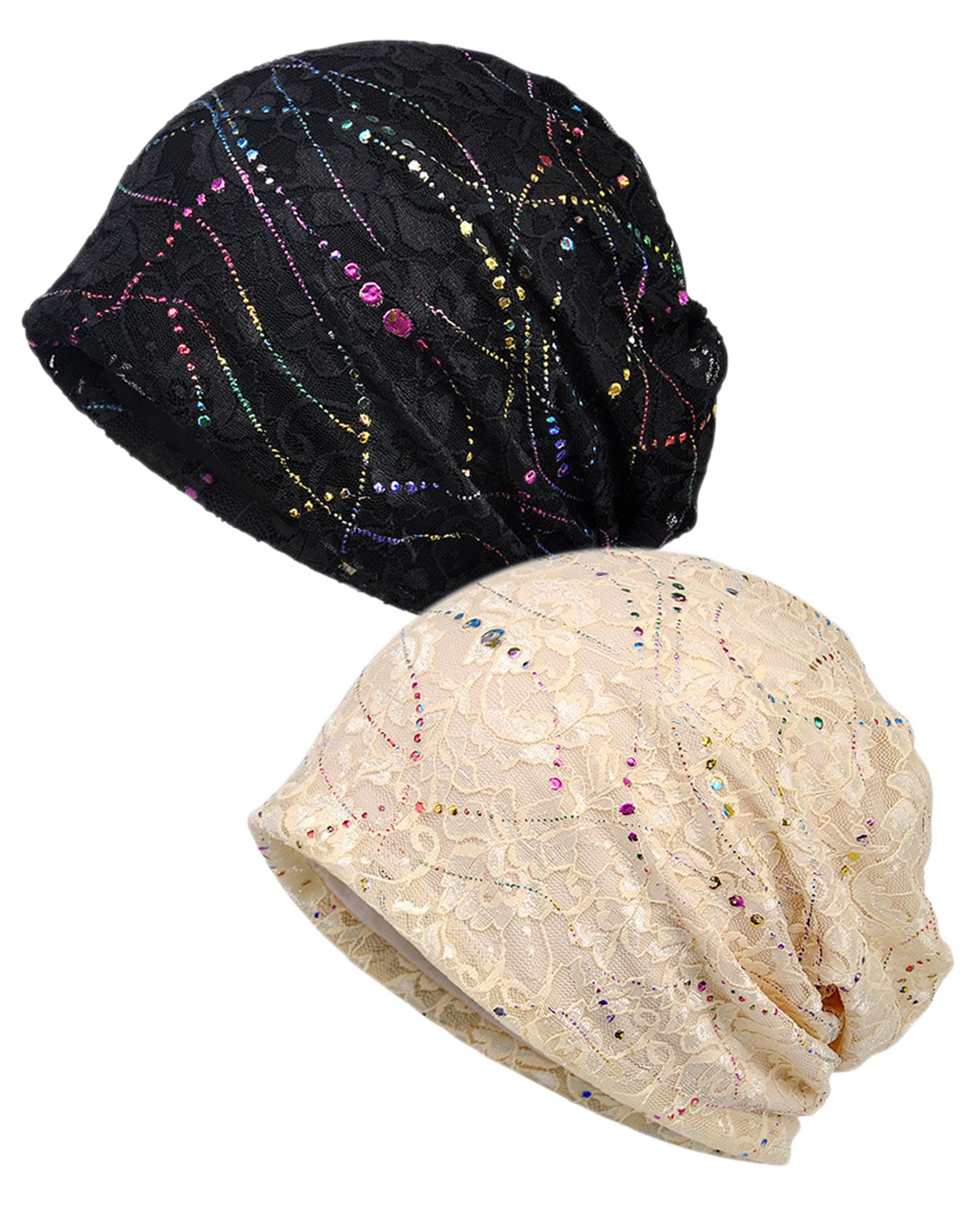 Luccy K Women's Lightweight Turban Slouchy Beanie Hat Cap (Black Beige)