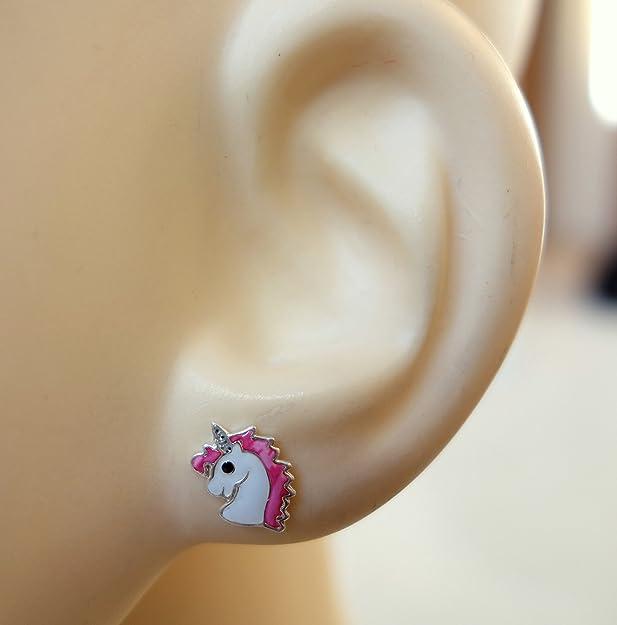 Katy Craig, Sterling Silver Unicorn Earrings, Pink