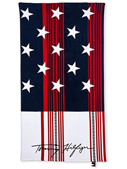 Toalla de playa Tommy Hilfiger Striped Flag (87 x 165 cm)