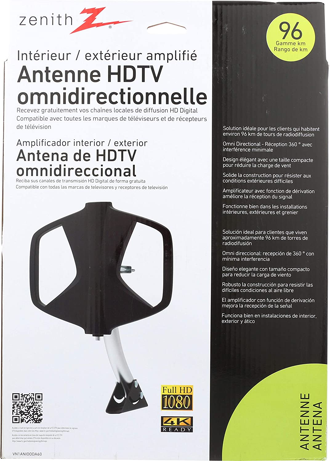 Amazon.com: AmerTac - Zenith VN1ANIOODA60 Antenna HDTV Receiver and Tuner: Electronics