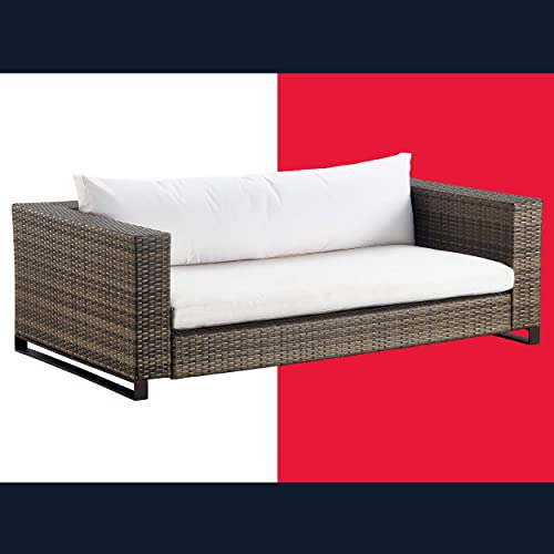 Tommy Hilfiger Oceanside Patio Rattan Outdoor Furniture Collection with All-Weather Brown Resin Wicker Frame, Porch or Pool, Garden, Sofa