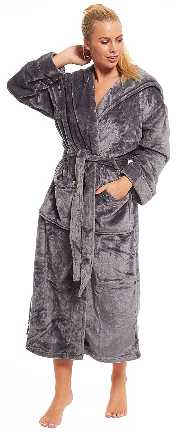 Slumber Hut Ladies Fleece Dressing Gown Long Length Hooded or Shawl Womens Robe Velvet Softness Snuggle Winter Warm Housecoat
