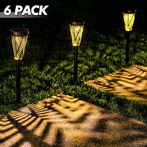 LeiDrail Solar Pathway Lights Outdoor Garden Path Light Spider Web Decorative Warm White LED Black Metal Stake Landscape Lighting Waterproof for Yard Patio Walkway Lawn In-Ground Spike – 6 Pack