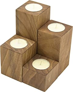 Ray Silver Wood Votive Candle Holders - Handmade Tea-Light Candle Holder for Rustic Decor , Wedding ,Birthday Decoration Without Chemical - Set of 4(Ash Wood) (Walnut)