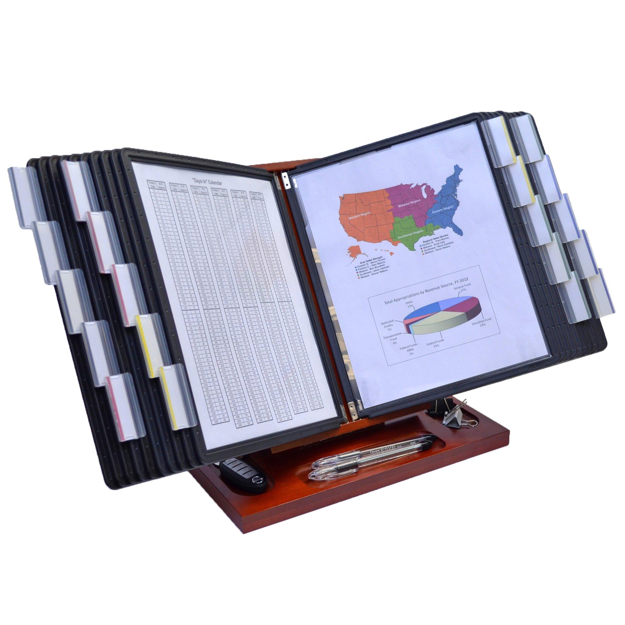 WoodWorx 20-Pocket Desk Reference Organizer, (Cherry w/ Black Pockets)