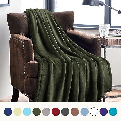 Amazon Bedsure Flannel Fleece Luxury Blanket Olive Green Throw Enchanting Olive Green Throw Blanket