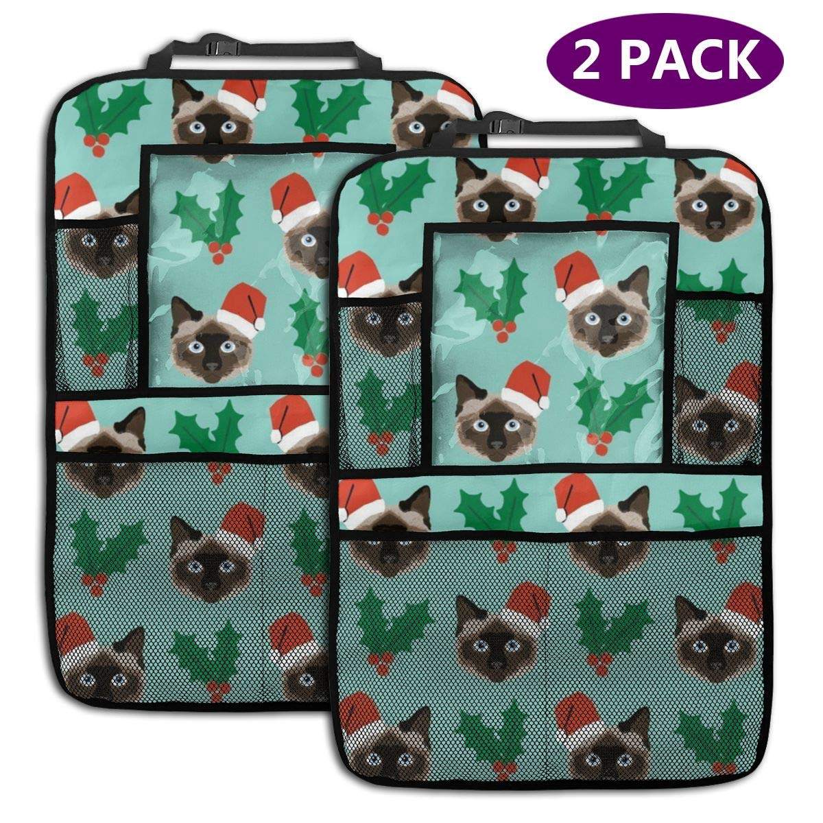 QF6FEICHAN Christmas Cat Car Seat Back Protectors with Storage Pockets Kick Mats Accessories for Kids and Toddlers by QF6FEICHAN