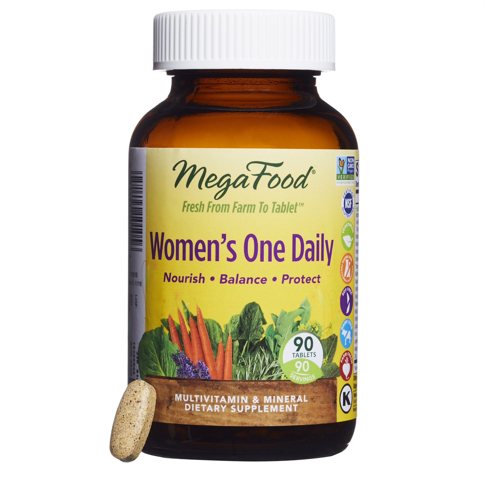 MegaFood - Women's One Daily, Supports Healthy Emotional Balance & Stress Response, 90 Tablets (FFP)