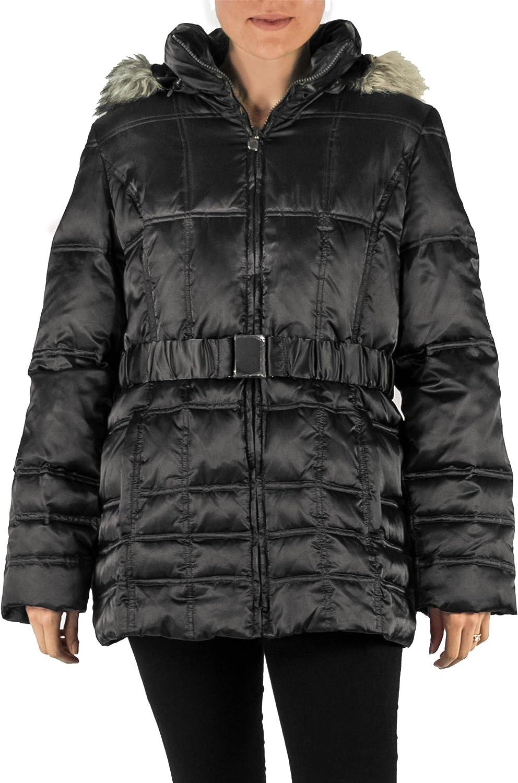 Laundry by Shelli Segal Faux Fur Puffer Coat Black (Large)