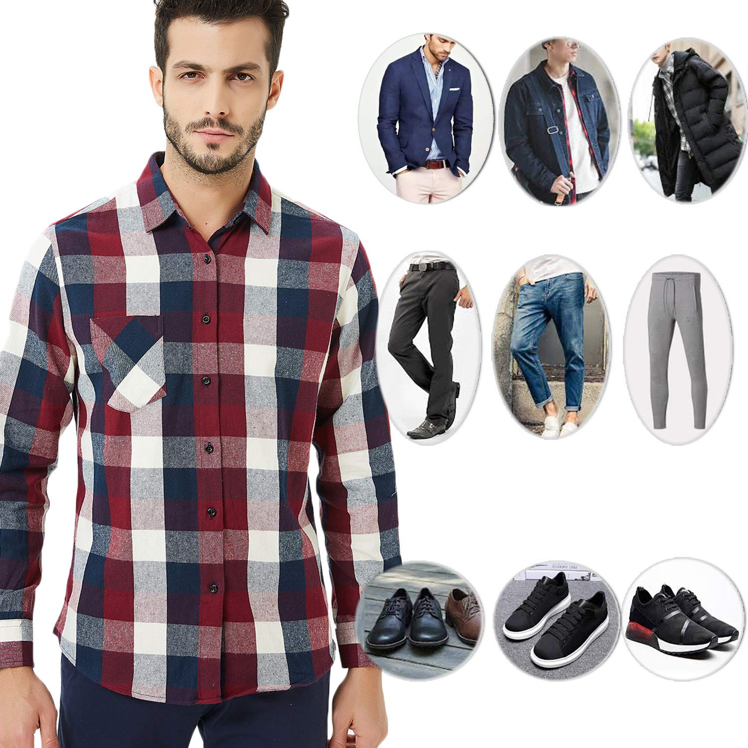 Ebind Mens Flannel Shirt Plaid Long Sleeve Non Iron Casual Button Up Shirt