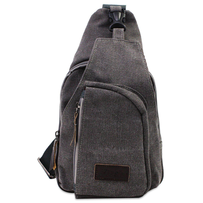 PsmGoods® hombres hombro bolsa de viaje Ocio bolsillo de la lona Senderismo Mochila pecho bolsa Sling escuela senderismo y bicicleta Black Large