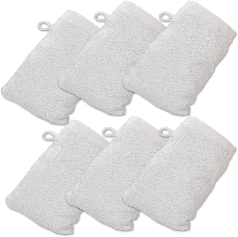 15 cm x 23 cm Made Easy Kit Lot de 6 gants de bain de style europ/éen blanc Coton 6 x 9 inches