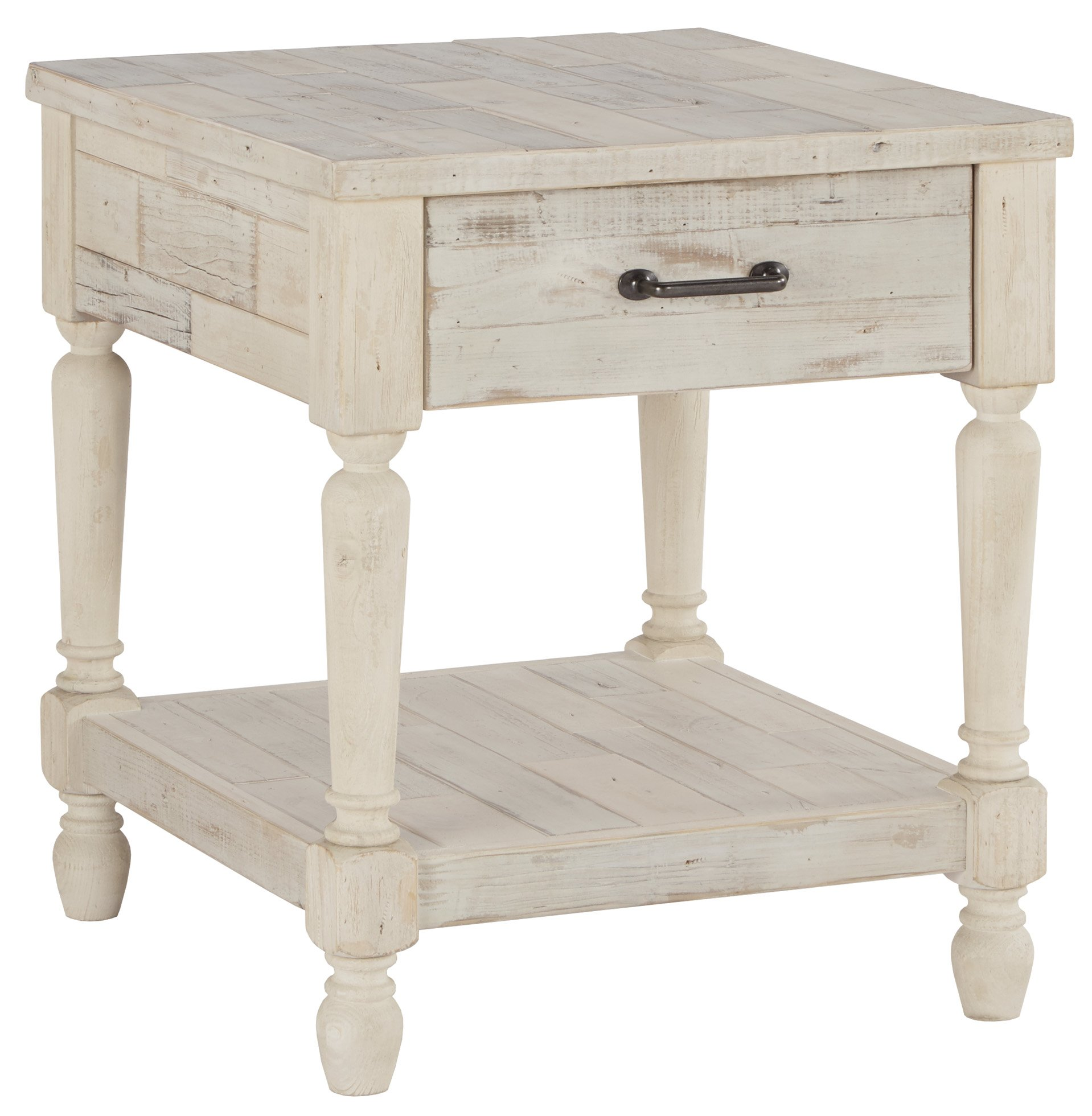 Ashley Furniture Signature Design - Shawnalore Casual Rectangular End Table with Storage - White Wash by Signature Design by Ashley