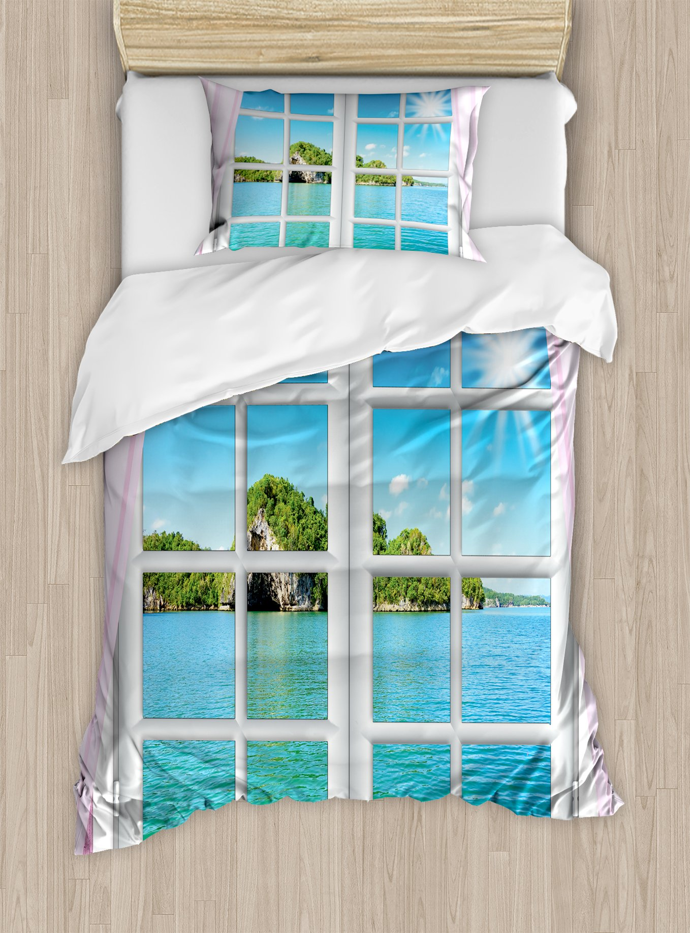 Ambesonne Ocean Duvet Cover Set Twin Size, Ocean View from The Window on Island in Sunny Summer Day Peaceful Relaxation Resting, Decorative 2 Piece Bedding Set with 1 Pillow Sham, Pink Blue
