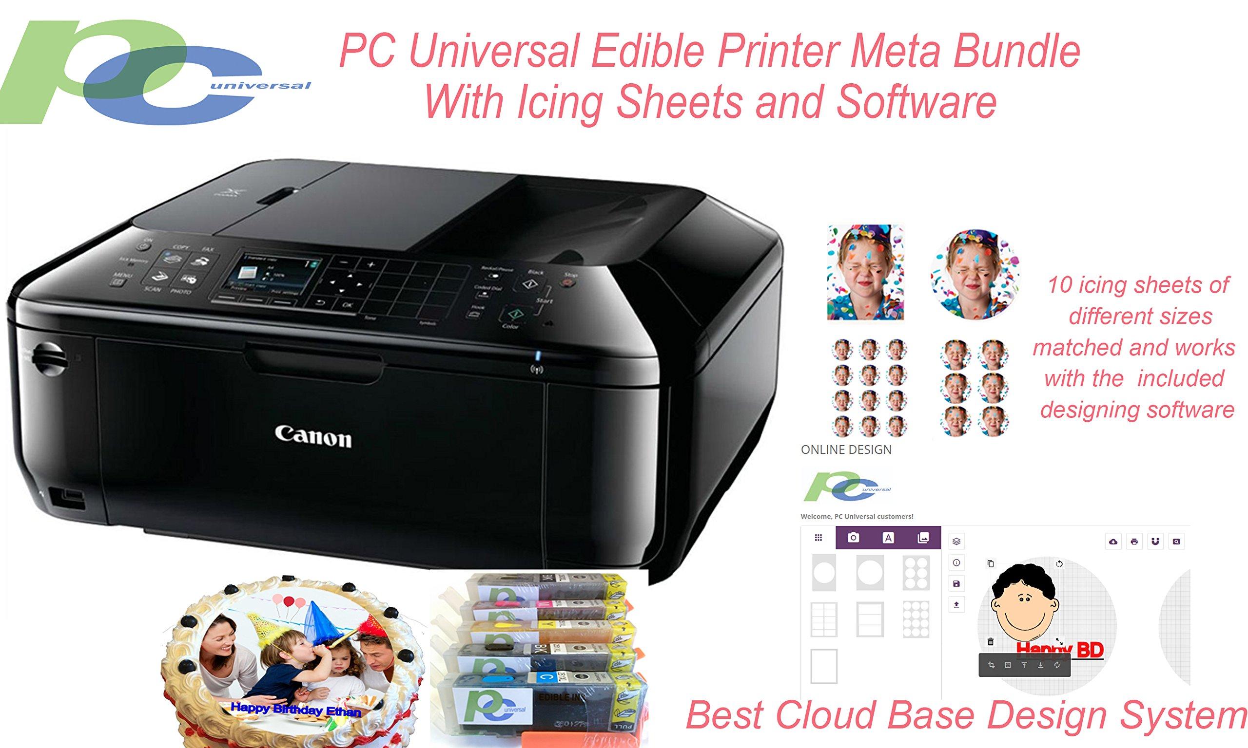 PC Universal Edible Printer Meta Bundle With Icing Sheets and Software