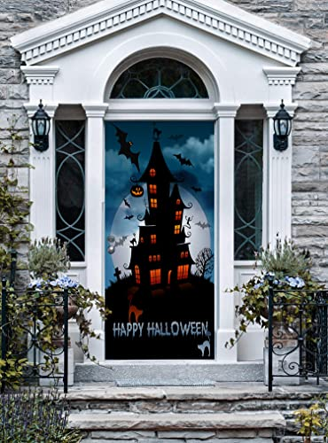 Amazon Com Happy Halloween Haunted House Front Door Cover Decor For