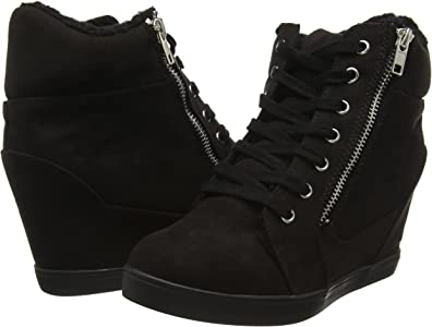 Womens Mid Heel Wedge Platform Lace Up Hi Top Ladies Ankle Trainers Boots Size