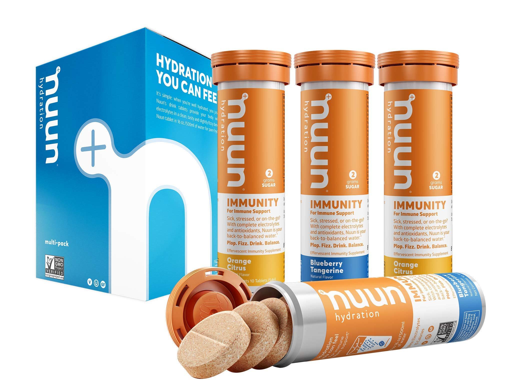 Nuun Immunity: Zinc, Turmeric, Elderberry, Ginger, Echinacea, Electrolytes for Anti-Inflammatory & Antioxidant Boost in Immune Support, Blueberry Tangerine/Orange Citrus, 4 Tubes (40 Servings)