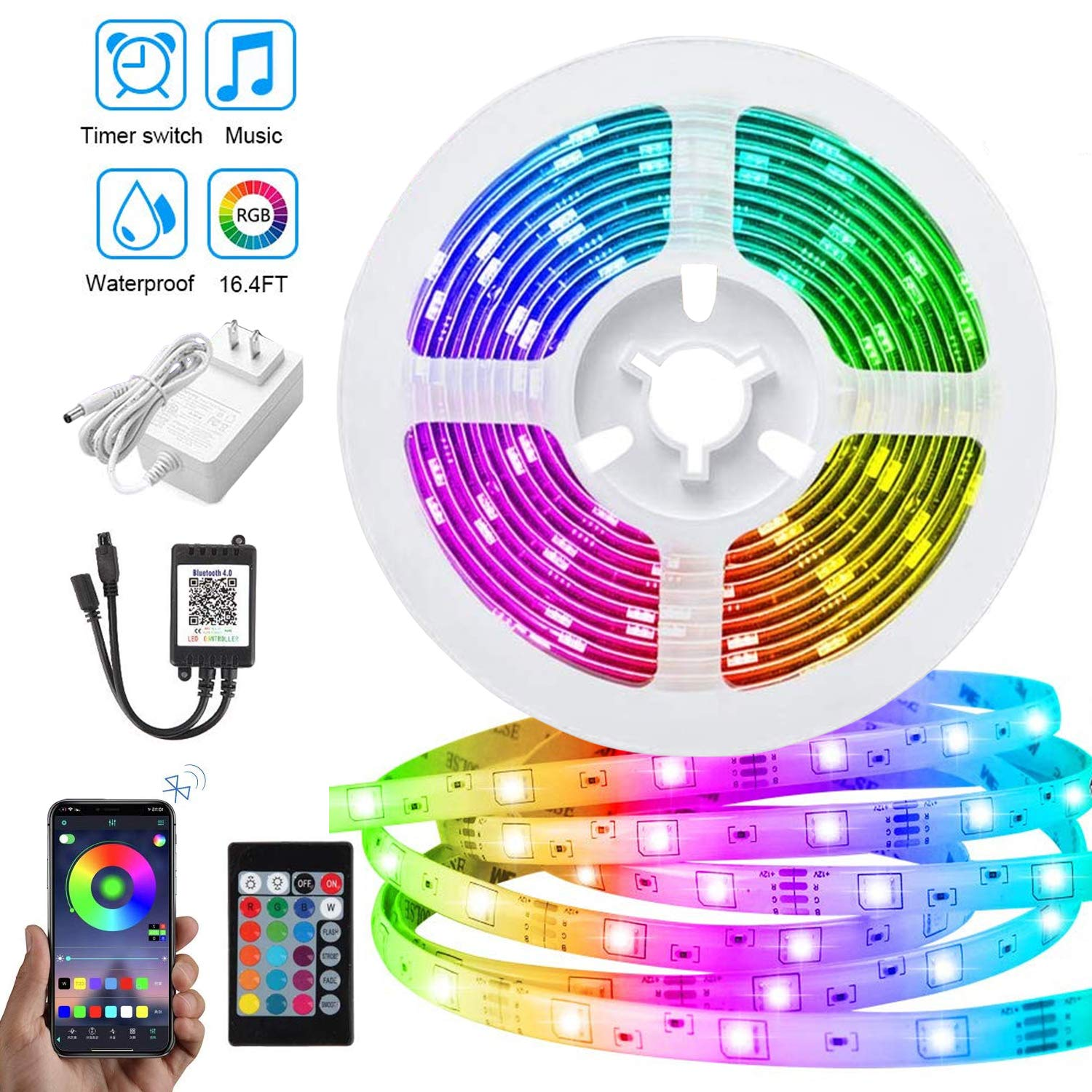 LED Strip Lights, PATIOPTION 16.4ft Waterproof Bluetooth Phone Controller RGB 5050 LED Tape Lights, Music Sync Color Changing LED Strip Lights with Remote for Bedroom, Home Decor, Cabinet, TV, Party