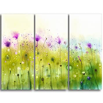 Design Art MT10305-3P green Purple Abstract Cosmos of Flowers Large ...