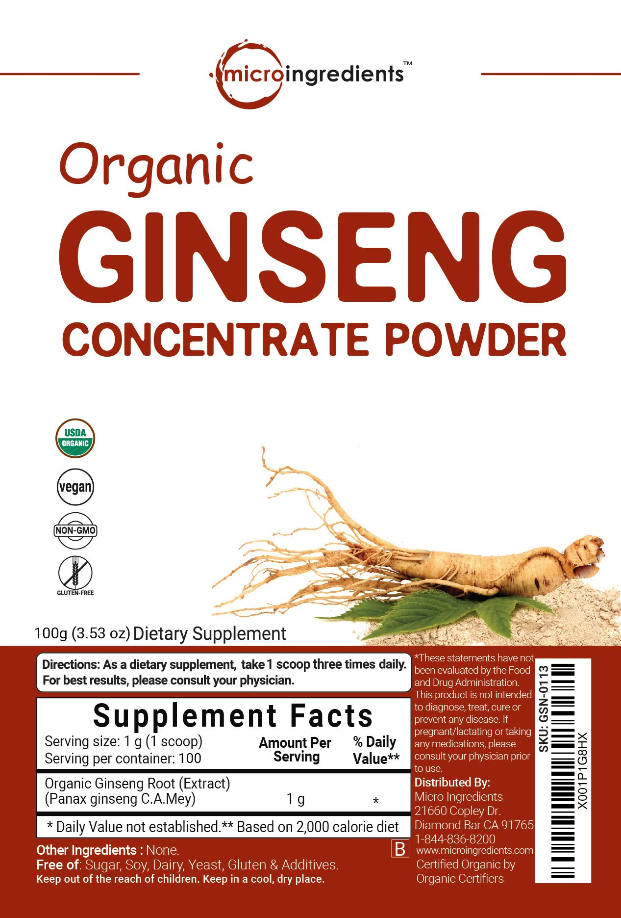 Maximum Strength Organic Ginseng Root 200:1 Powder, 4 Ounce, Support Energy, Immune, Mental Health & Physical Performance, Non-Irradiated, Non-Pesticide, Non-GMO and Vegan Friendly by Micro Ingredients (Image #5)